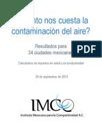 ¿Cuánto nos cuesta la contaminación del aire? Resultados para 34 ciudades mexicanas (IMCO, 2013)