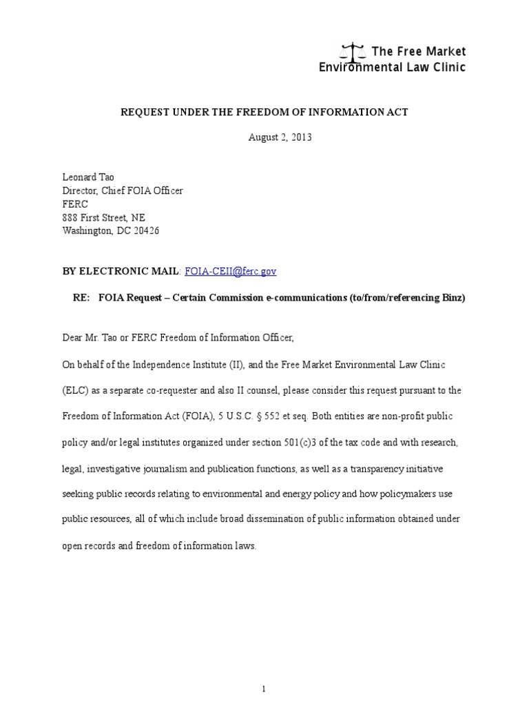 ELC FERC Ron Binz FOIA request | Freedom Of Information Act (United ...