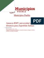 24-09-2013 Municipios Puebla - Anuncia RMV universidad a distancia para Zapotitlán Salinas
