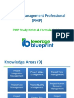 PMP Study Notes Formula Guide