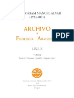 In Memoriam Manuel Alvar. Filología Aragonesa.