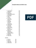 CLASSIFICAÇÃO PARCIAL DFSTREET 2013