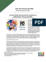 Boletín 056_ Semana Andina de prevención de embarazos en adolescentes_ _Por mi, yo decido_