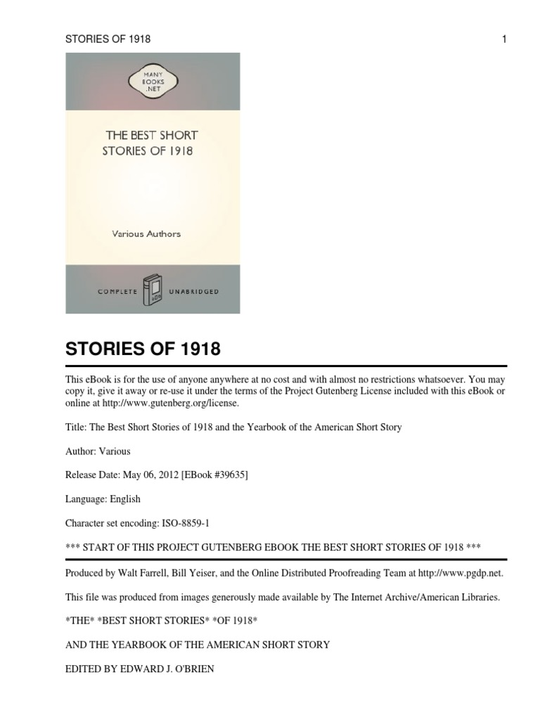The best short stories of 1918 the atlantic project gutenberg fandeluxe Images