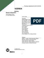September Metro Board agenda