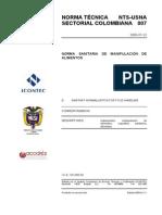 NTC -Norma sanitaria de manipulación de alimentos