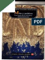 Mito y Archivo, by Roberto González Echevarría