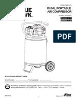 Lowe's #0461679 20 Gallon (20-Gal) Portable Air Compressor Blue Hawk Model #0132055 User's Guide Manual [461679.pdf]