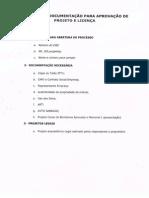 SUMÁRIO DE DOCUMENTAÇÃO PARA APROVAÇÃO DE PROJETO E LICENÇA