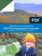 2013 Maine Conservation Voters Legislator Scorecard