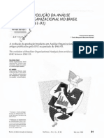 A EVOLUÇÃO DA ANÁLISE ORGANIZACIONAL NO BRASIL