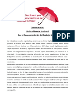 FRENTE NACIONAL POR RECONOCIMIENTO DEL TRABAJO SEXUAL - Documento Politico
