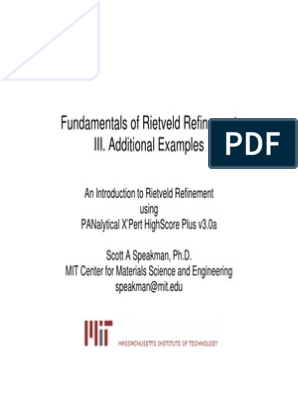 Fundamentals of Rietveld Refinement Additional Examples HSP