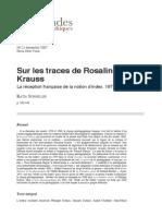 Sur Les Traces de Rosalind Krauss