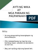 Filipino 1 Barayti Ng Wika at Mga Paraan Ng Pagpapahayag
