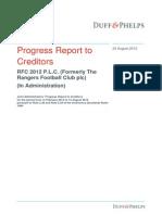Rangers Progress Report 24 August 2012