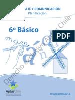 Planificacion 6 Basico II Semestre 2013
