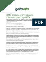 25-09-2013 G el golfo.info - RMV anuncia Universidad a Distancia para Zapotitlán