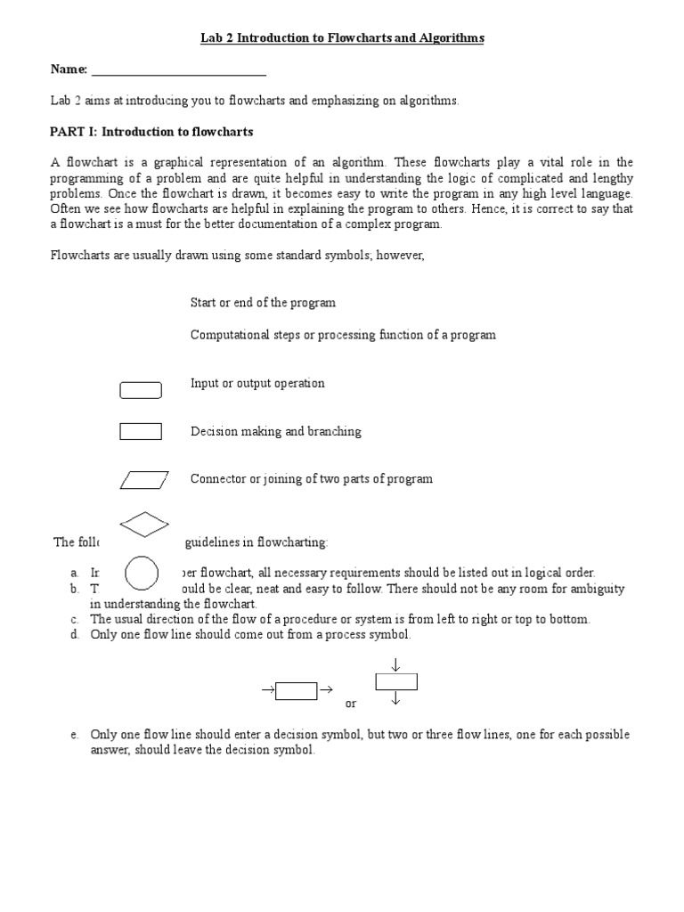 Introduction To Flowcharts And Algorithms