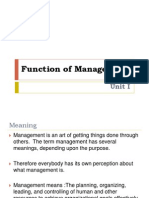 Unit I Function of Management - Principle of Business Management Unit I