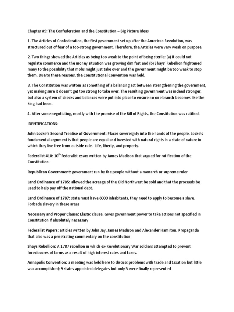 chapters 910 apush Federalist Party – Ratifying the Constitution Worksheet