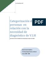 CATEGORIZACIÓN DE PERSONAS EN RELACIÓN A LA NECESIDAD DE DIAGNÓSTICO DE V.I.H