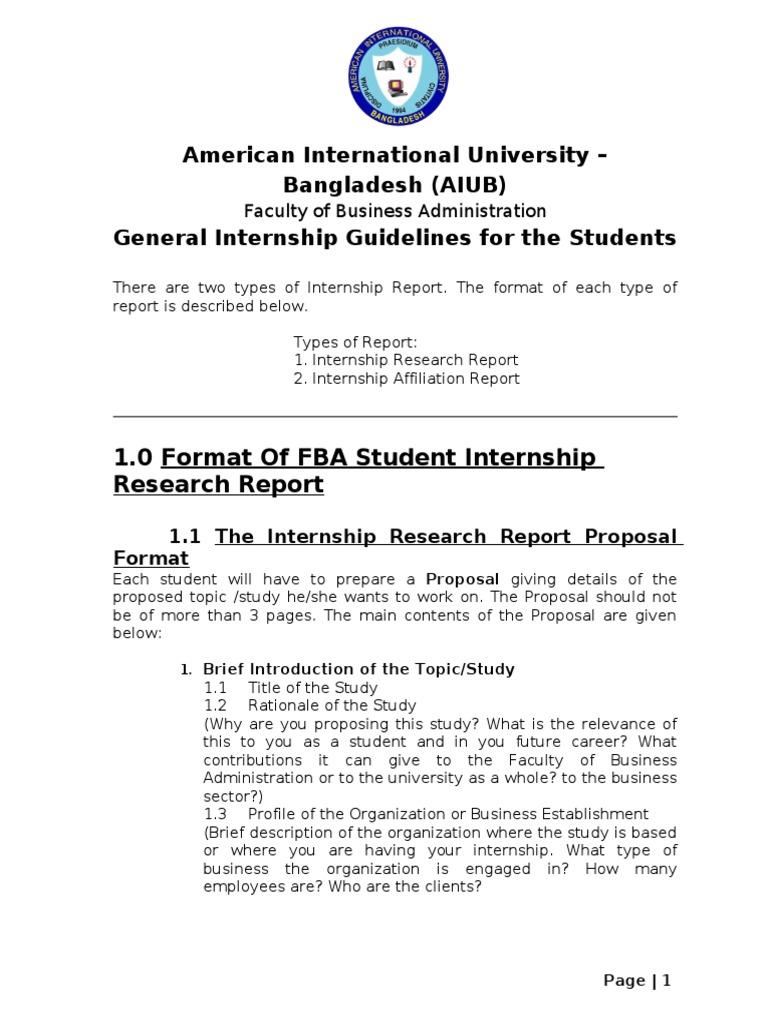 Internship Report Format Fall 2013   Internship (18 views)
