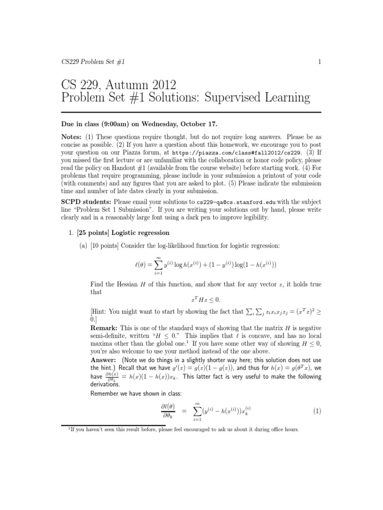 Cs229 Midterm Solutions
