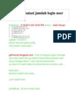 Cara Membatasi Jumlah Login User Di Ssh