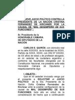 SOLICITUD DE JUICIO POLÍTICO A LA PRESIDENTE