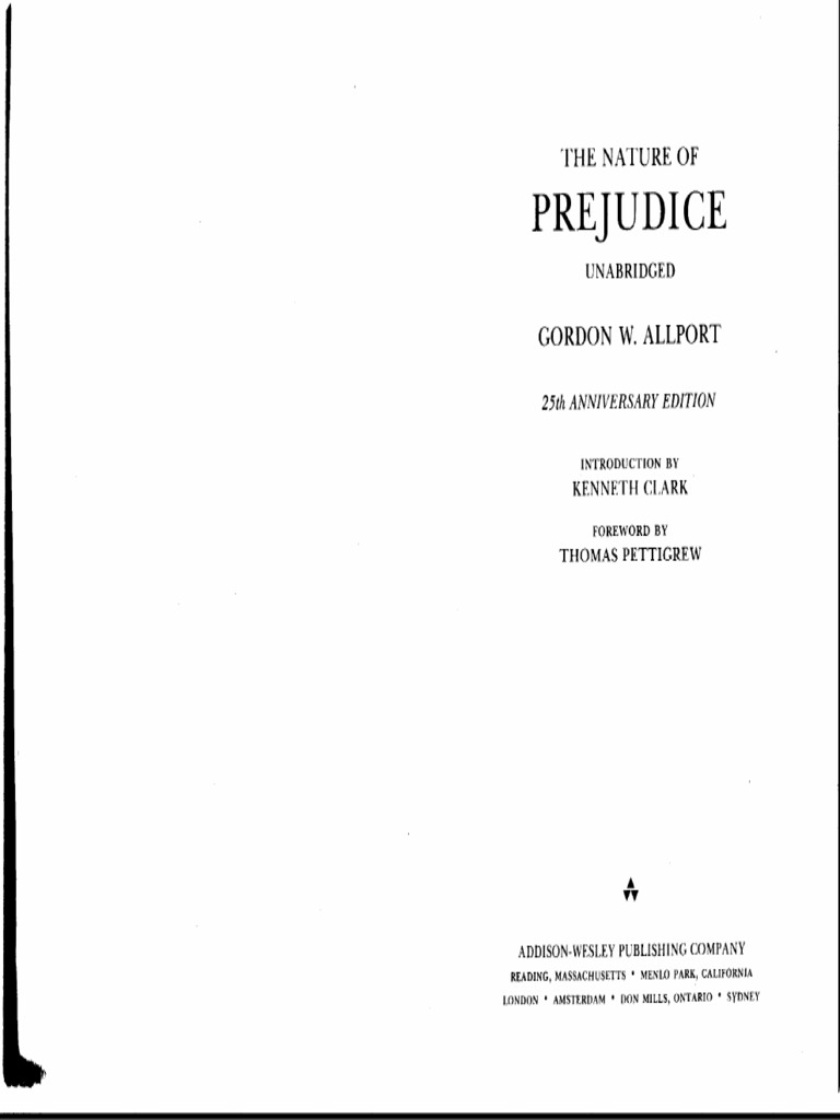 The nature of prejudice. Gordon allport. Pdf.