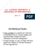 Key Success Variables & Measures of Performance