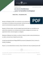 Discours d Ouverture de La Conference Environnementale Pour La Transition Ecologique
