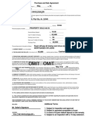 Sample Contract For Wholesaling Flipping Houses Real