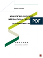 Ewha Admision Guide for International Students 2014 Spring Semester