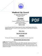 Medford City Council Agenda October 1, 2013