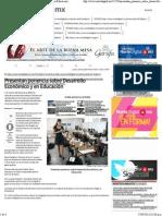 26-09-13 Presentan ponencia sobre Desarrollo Económico y en Educación