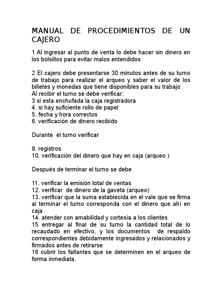 Manual de procedimientos de un cajero for Manual de procedimientos de un restaurante