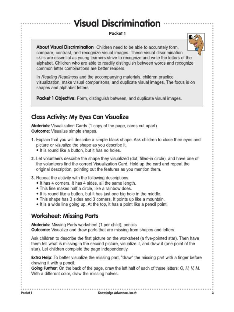 Workbooks visual discrimination worksheets : Visual Discrimination | Shape | Mental Image