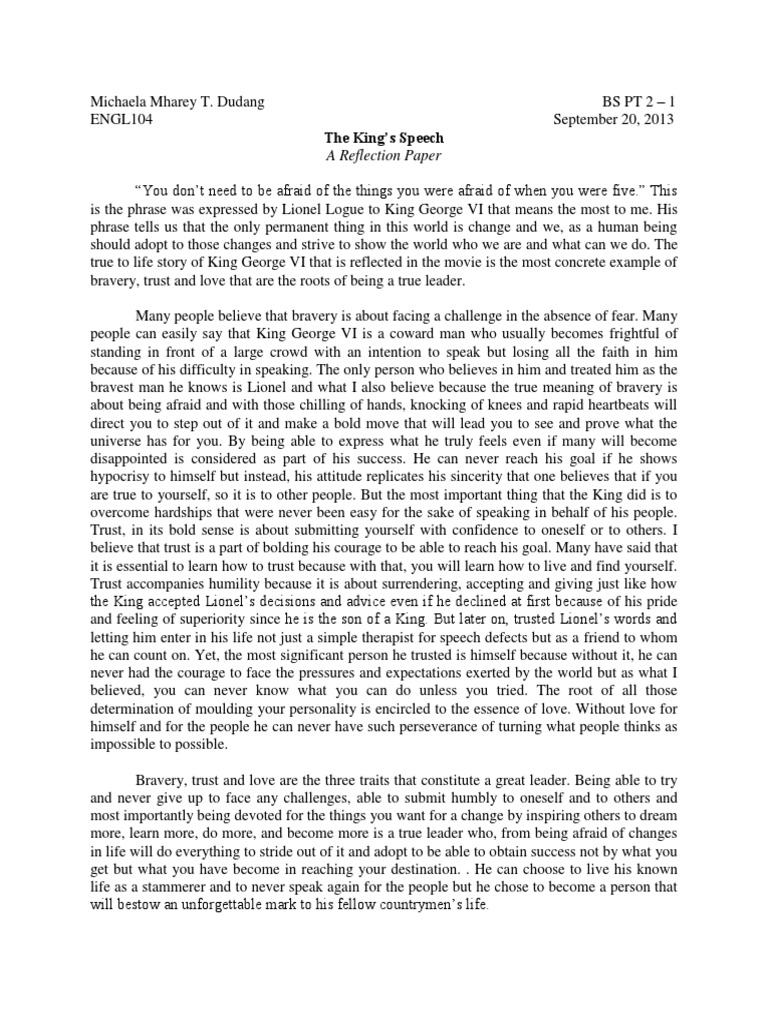 Reflection paper about the speech of