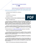 Declaratoria de Emergencia Ambiental - Ley y Reglamento