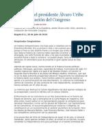 Discurso del presidente Álvaro Uribe en la instalación del Congreso