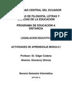 LEGISLACIÓN EDUCATIVA GIOVANNY UTRERAS
