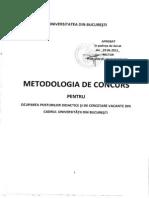 Metodologia de Concurs Pentru Ocuparea Posturile Didactice Si de Cercetare Vacante Din Cadrul Universitatii Din Bucuresti 2011
