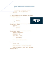 Algoritmo de Euclides para hallar MCD de dos números en forma recursiva