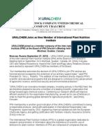 URALCHEM Joins as New Member of International Plant Nutrition Institute
