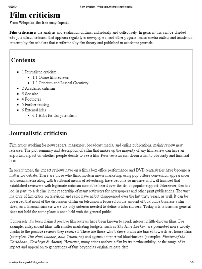 Film Criticism Mass Media Newspaper And Magazine Free 30 Day Trial Scribd