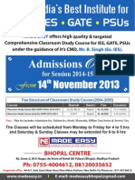 Admission Open at Bhopal Centre for Session 2014-15 from 14th November 2013