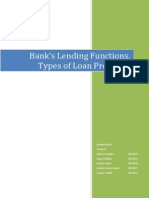 Bank's lending functions and types of loans