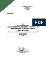 Analisis de Rendimiento y Consumos de Mano de Obra en Actividades de Construccion